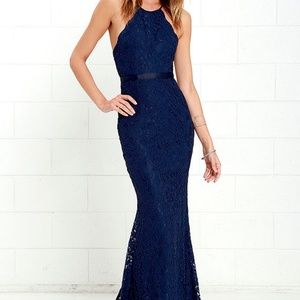 LULU'S Zenith Navy Blue Lace Maxi Dress